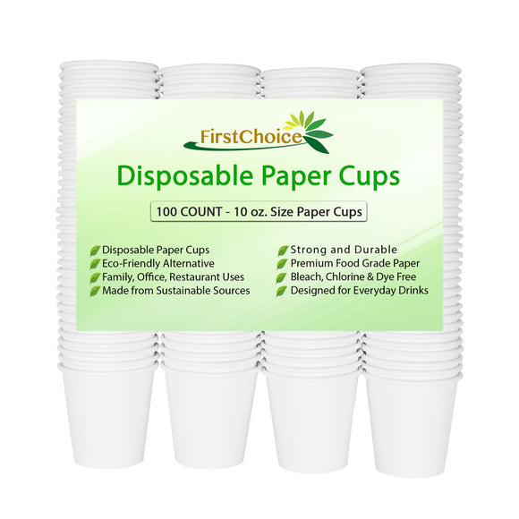White Paper Cups - 10 Ounce - 600 Count - FirstChoice EcoNaturals
