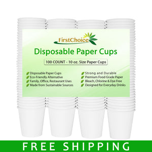 Disposable White Paper Cups - 10 oz - 100 Count - Plastic Cup Alternative - FirstChoice EcoNaturals