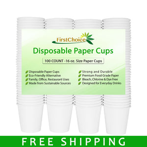 Disposable White Paper Cups - 16oz - 100 Count - Plastic Cup Alternative - FirstChoice EcoNaturals