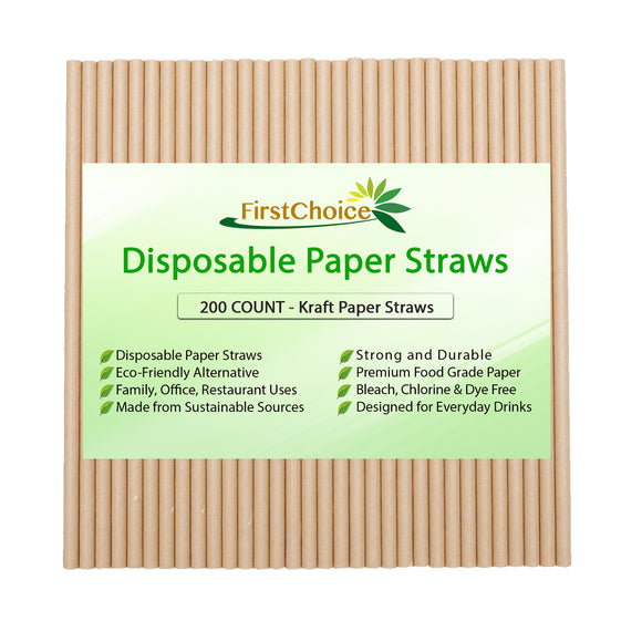 200-Count Biodegradable Kraft Paper Straws Premium Quality Eco-Friendly Compostable