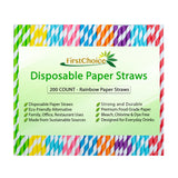 200-Count Biodegradable Rainbow Stripe Paper Straws Premium Quality Eco-Friendly 8 Different Colors