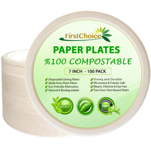 Compostable Bagasse Paper Plates - 7 Inch Size - 1200 Counts - FirstChoice EcoNaturals