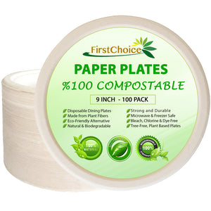 Compostable Bagasse Paper Plates - 10 Inch Size - 400 Counts - FirstChoice EcoNaturals