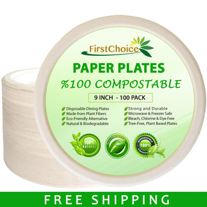 Compostable Bagasse Paper Plates - 9 Inch Size - 100 Counts - FirstChoice EcoNaturals