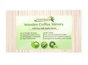 "10 Box - 7"" Length Wooden Coffee Stirrers - 10000 Piece Total Piece - FirstChoice EcoNaturals"