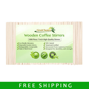 "Wooden Coffee Stirrers - 1000 Piece - 7"" Length - FirstChoice EcoNaturals"