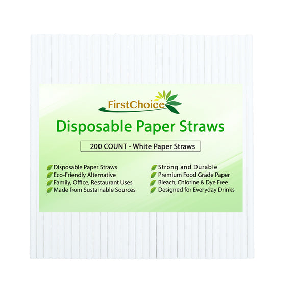 200-Count Biodegradable White Paper Straws Premium Quality Eco-Friendly Compostable White Color Paper