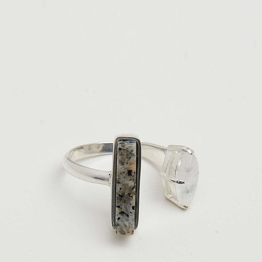 STONED OPEN LARGE RING - SILVER - HoneyMustard