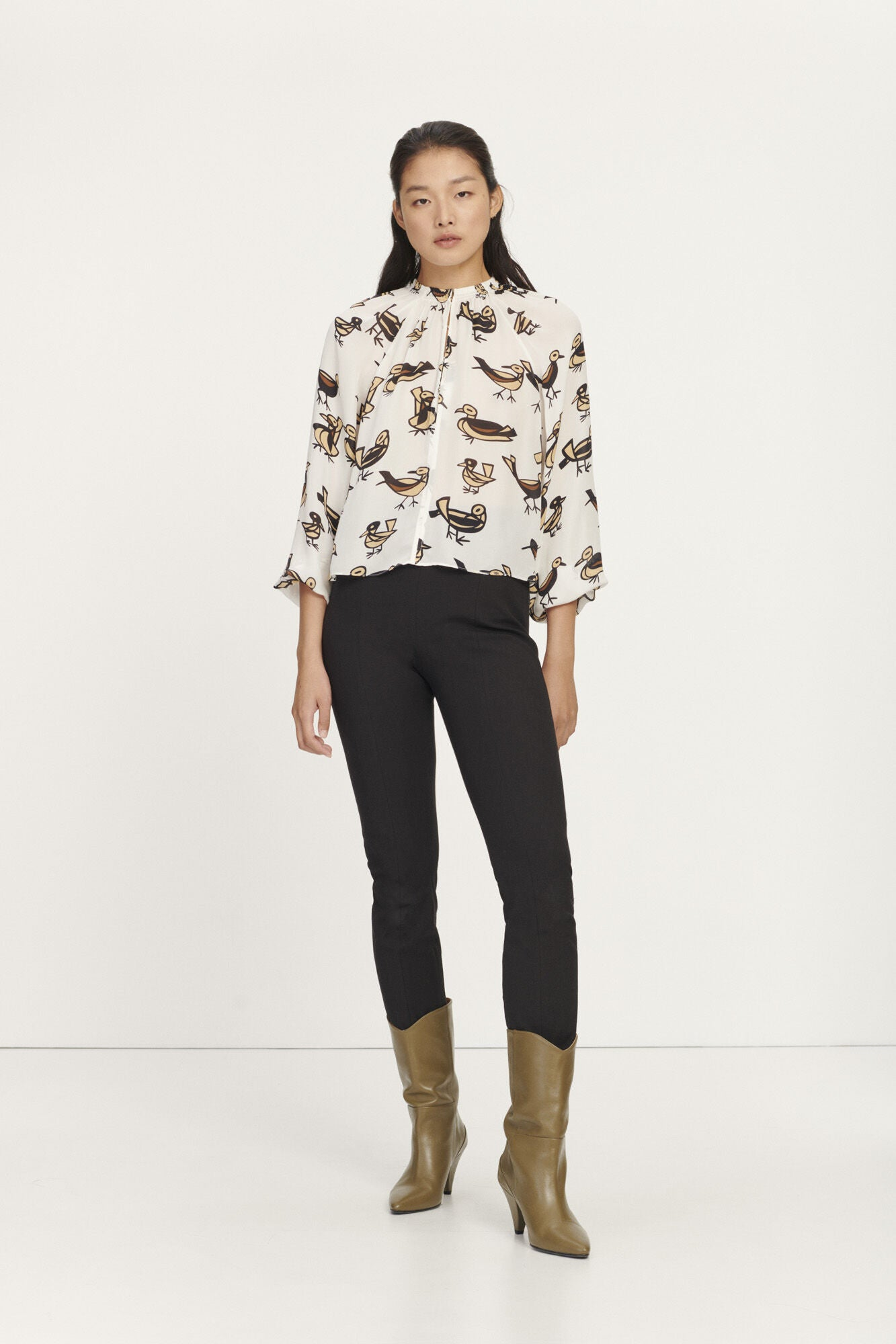 KAIA BIRD BLOUSE AOP 6434 - HoneyMustard