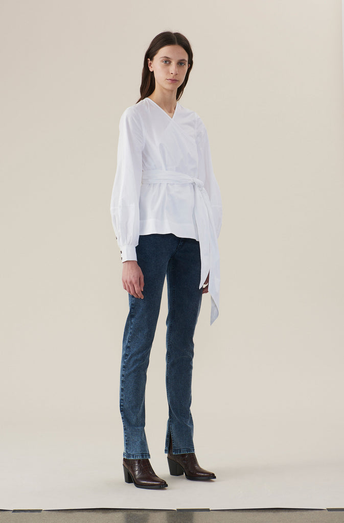 COTTON POPLIN WRAP SHIRT - HoneyMustard