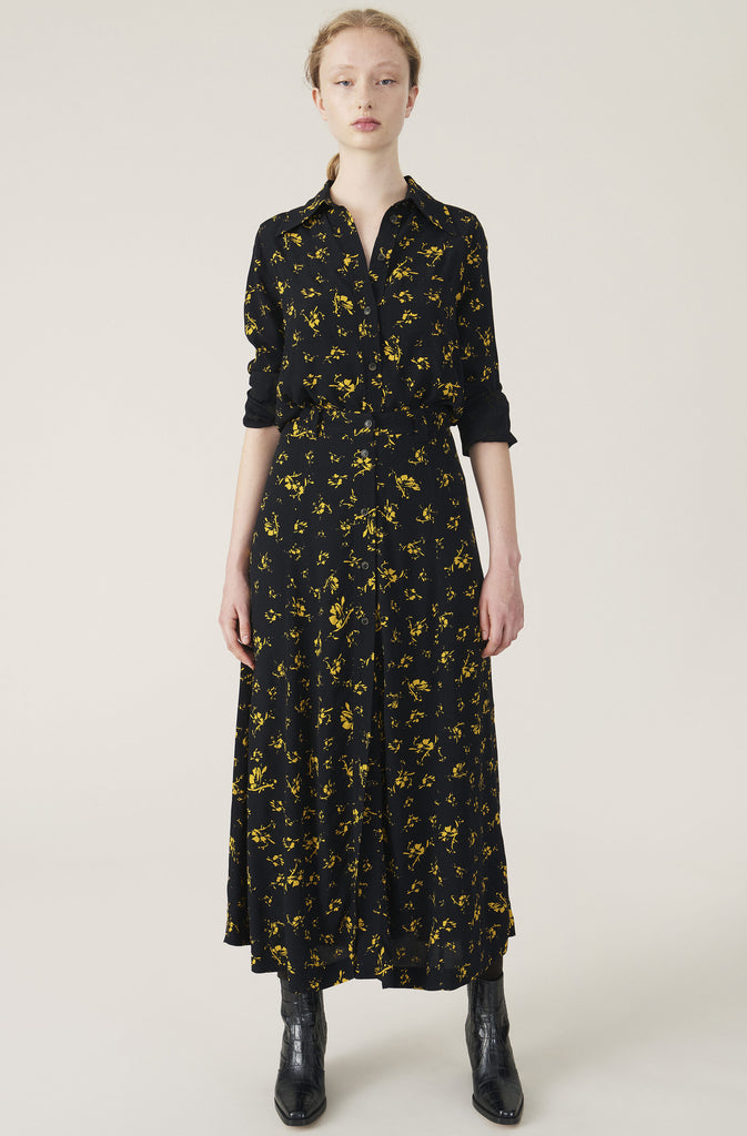 PRINTED CREPE SHIRT - HoneyMustard