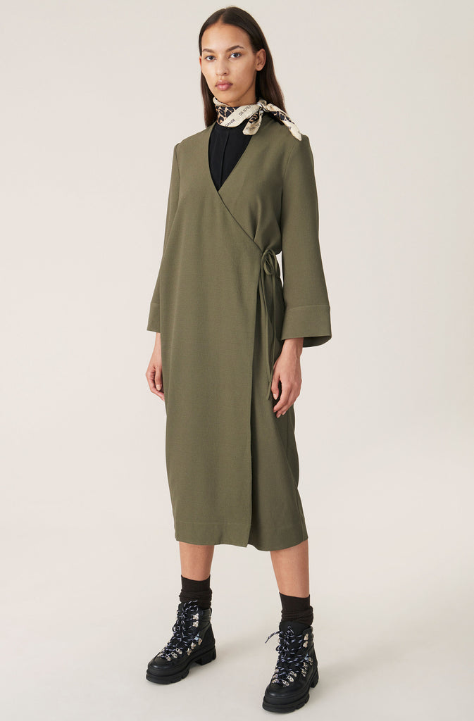 HEAVY CREPE BLAZER DRESS - HoneyMustard