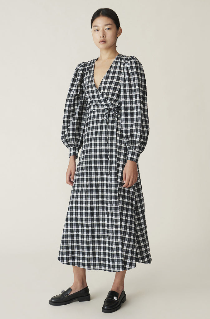 SEERSUCKER CHECK DRESS F4960 - HoneyMustard