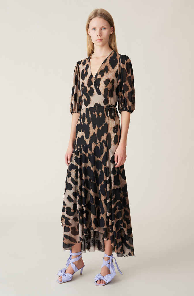 PRINTED MESH LEO DRESS - HoneyMustard