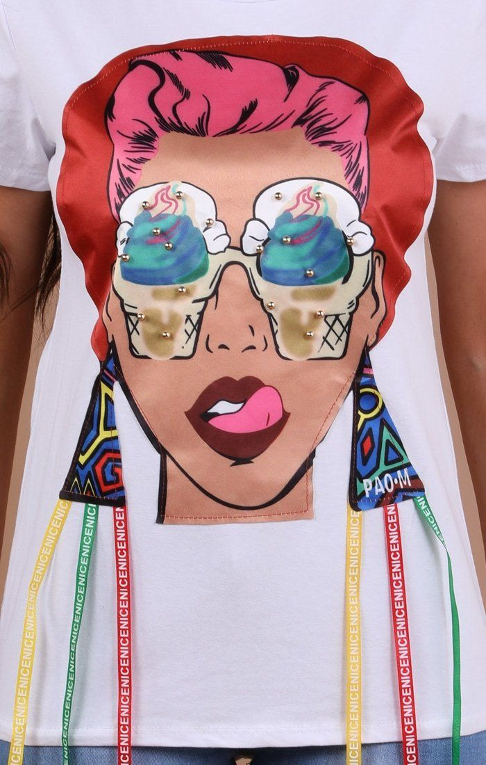 White Pop Art Print T-shirt - Aubrey