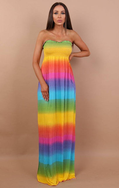Rainbow Bandeau Maxi Dress - Violet