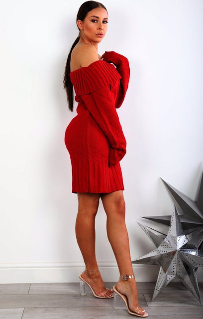 Red Chunky Knit Bardot Jumper Dress