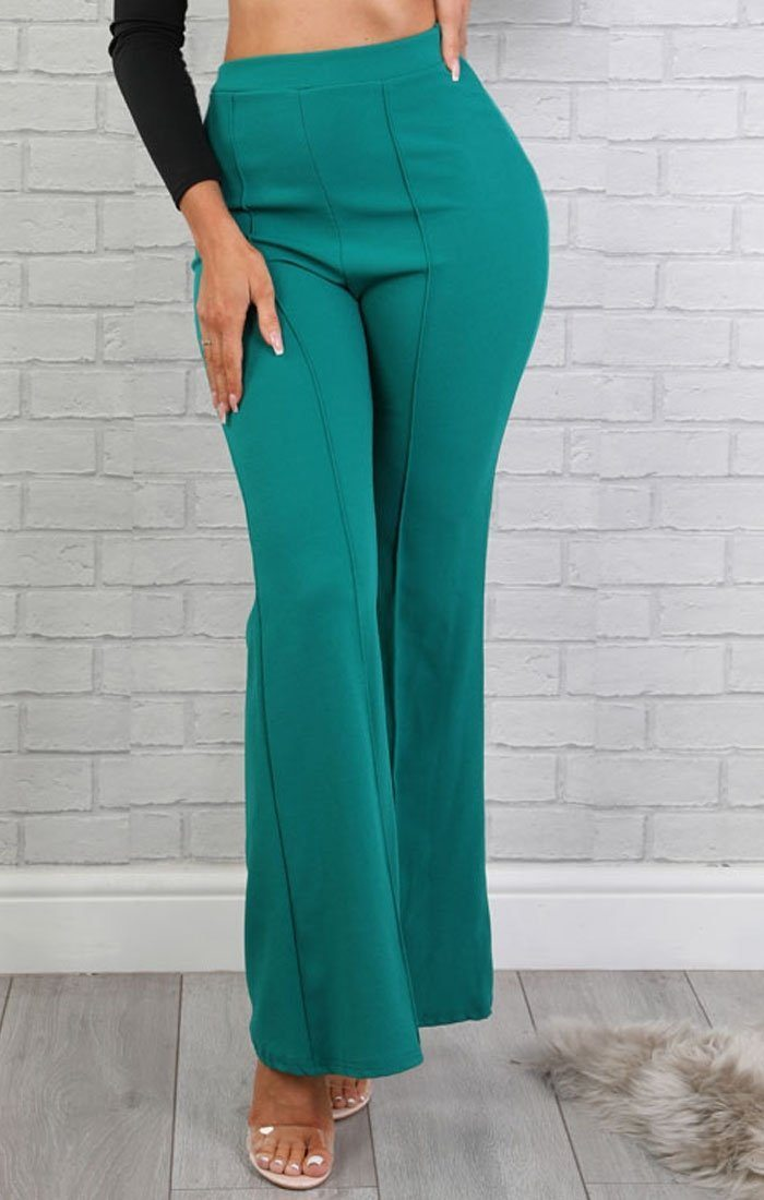 Emerald High Waist Flare Trousers - Holly