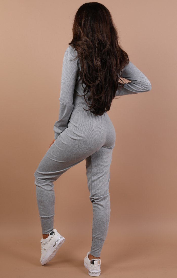 Grey Cropped Super Print Loungewear Set - Kimmy