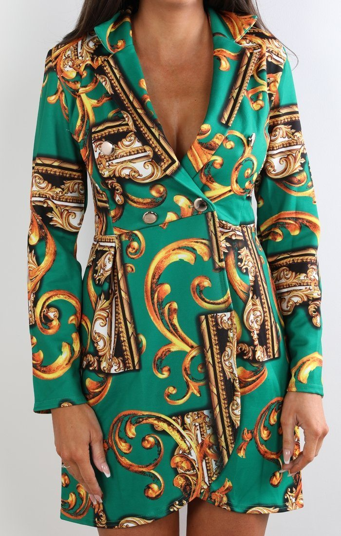 Green Scarf Print Blazer Dress