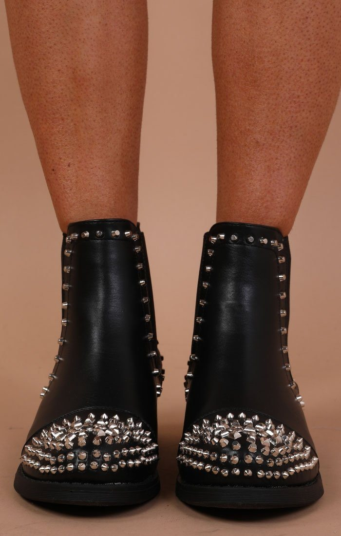 Black Premium Studded Ankle Boots - Darcy