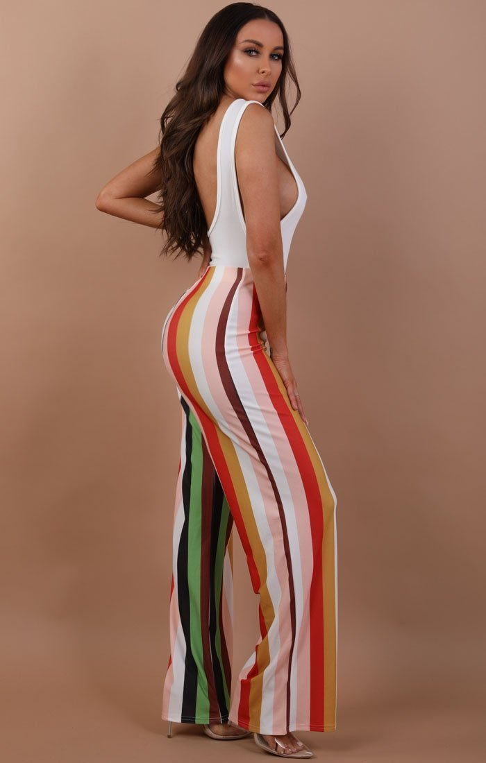 Multi Colour Wide Leg Trousers - Brooklyn