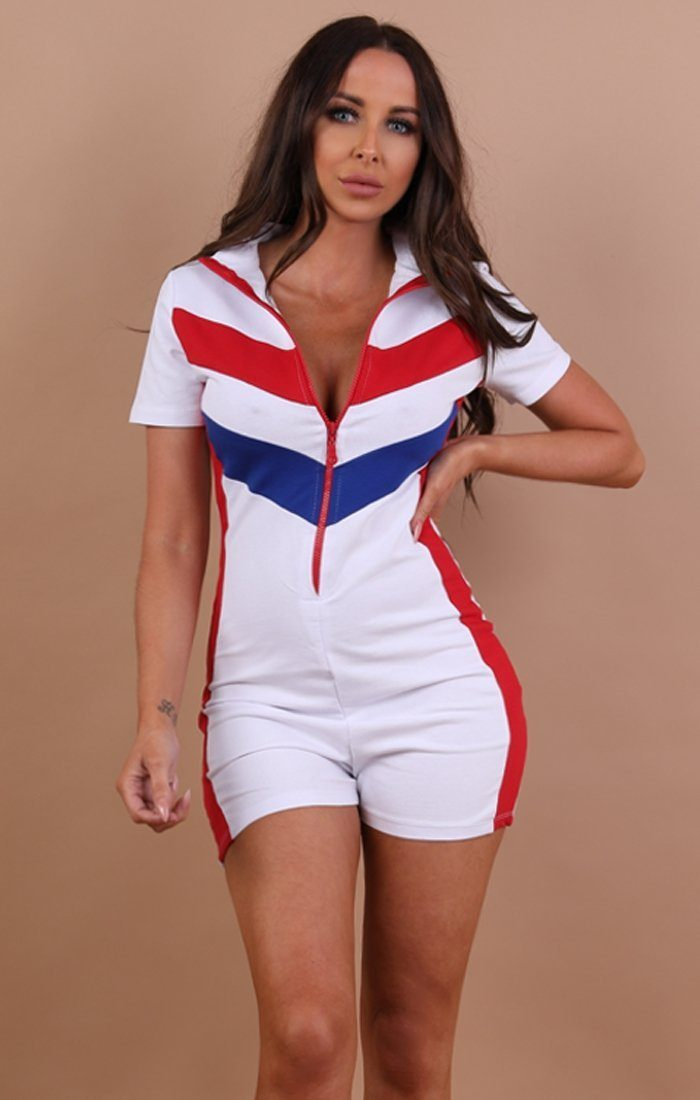 White Contrast Stripe Playsuit - Emerson