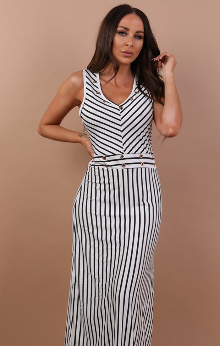 White Stripe Maxi Dress - Tasha
