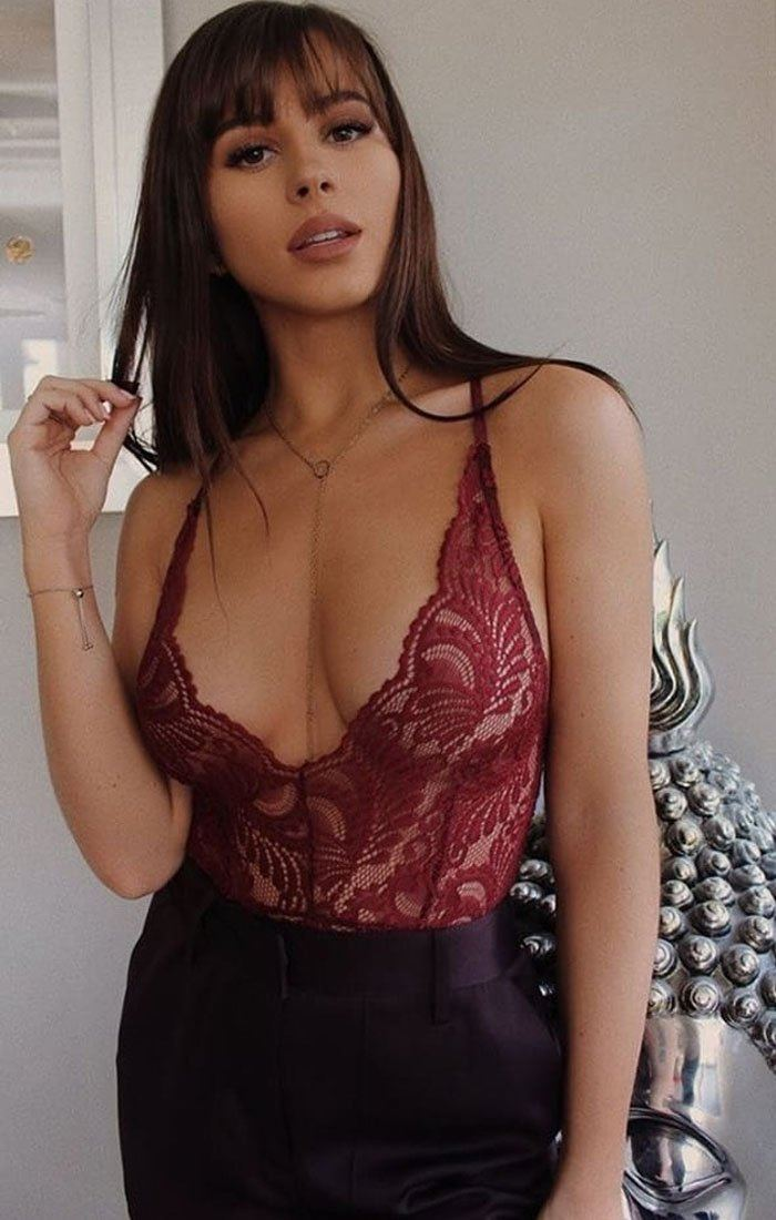 Wine Floral Sheer Lace Bodysuit