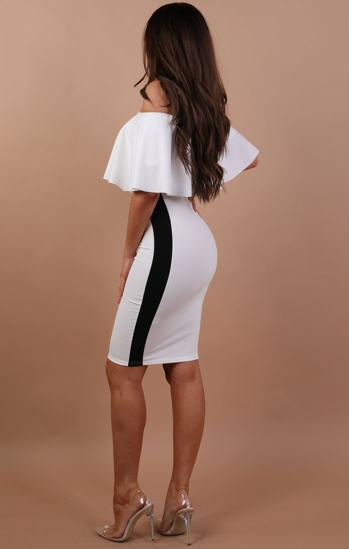 White Stripe Bardot Bodycon Dress - London