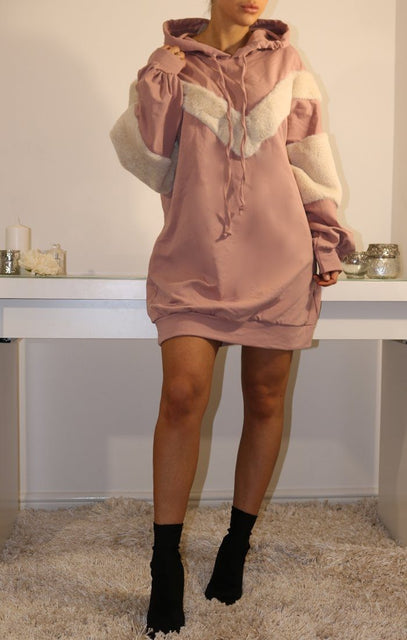 Pink Oversized Faux Fur Hooded Jumper Dress