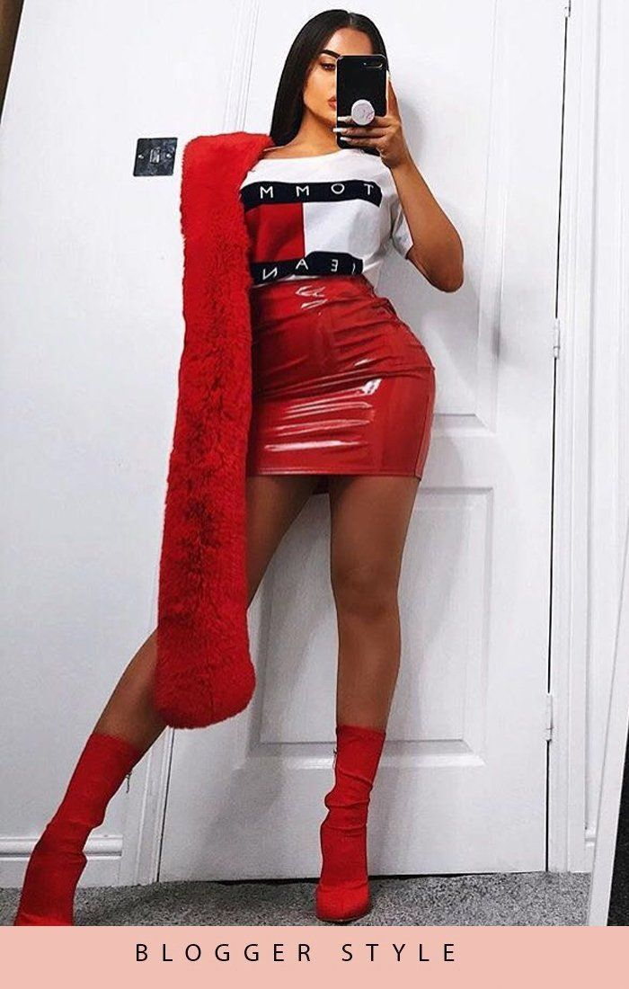 Red Pu High Shine Mini High Waist Skirt