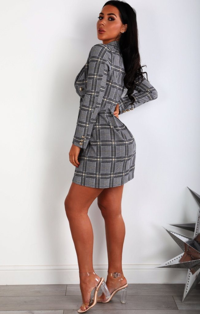 Grey And Mustard Tartan Blazer Dress