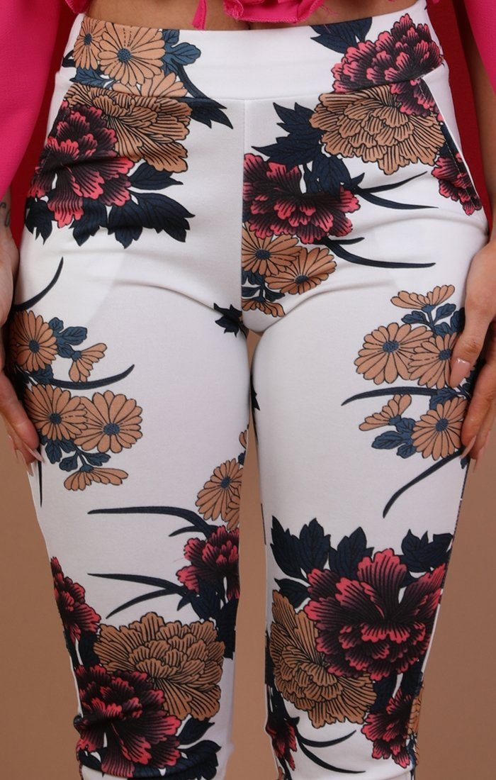 White Floral Slim Fit Trousers - Lorna