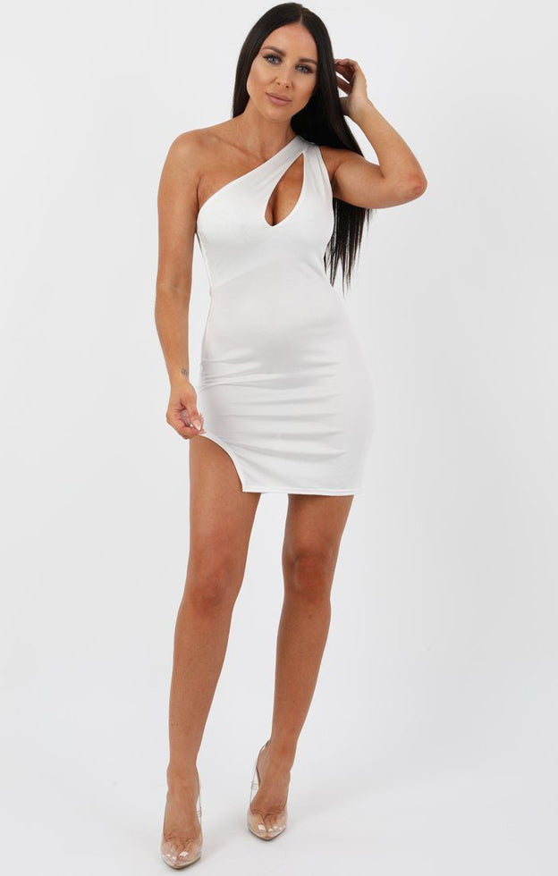 White Slinky Cutout One Shoulder Bodycon Dress