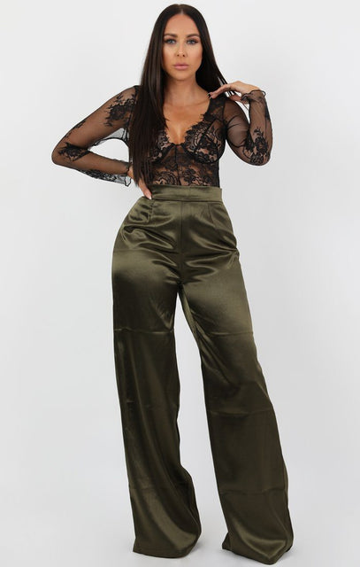 Khaki Satin Wide Leg High Waist Trousers - Nalani