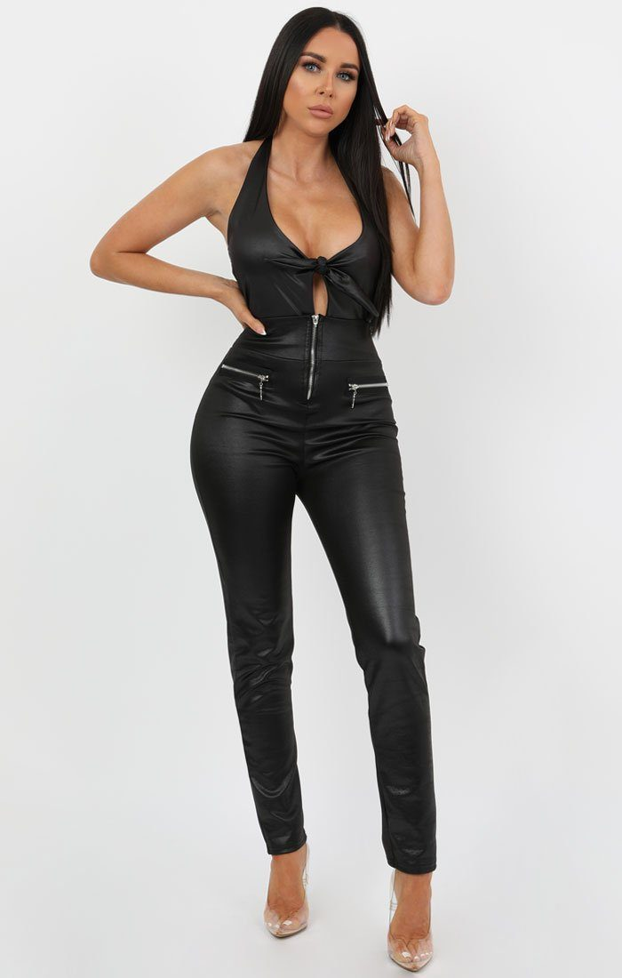 Black Faux Leather Bow Bodysuit - Emme