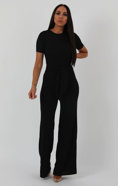 Black Ribbed T-shirt Tie Flared Loungewear - Billie