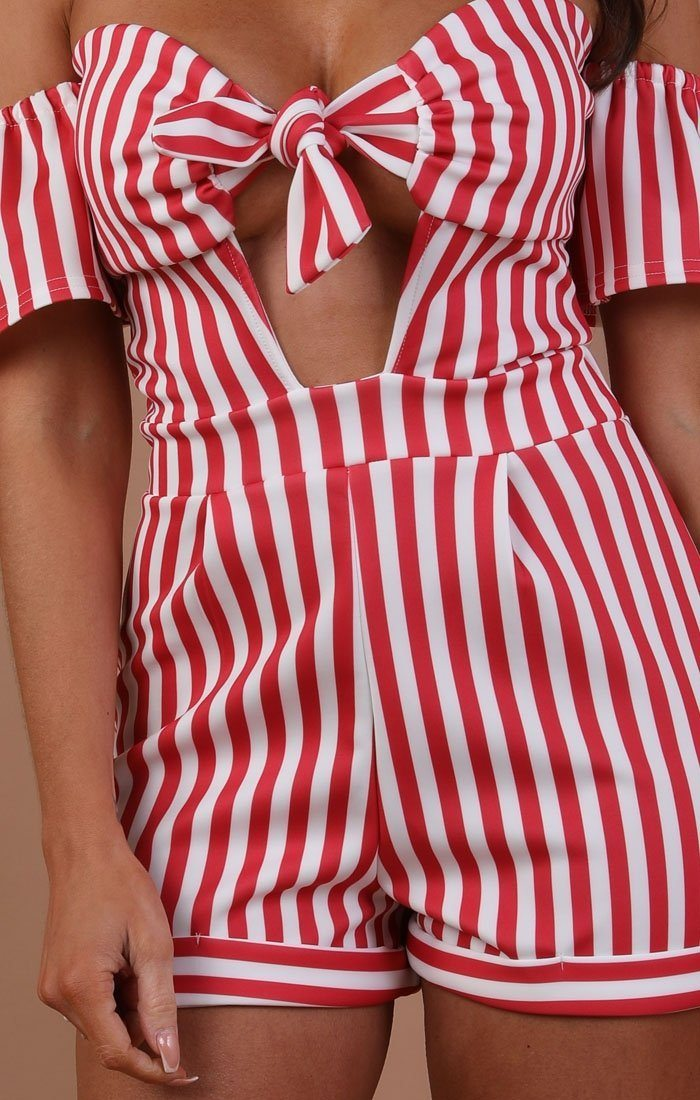 Red And White Striped Bardot Playsuit – Harley