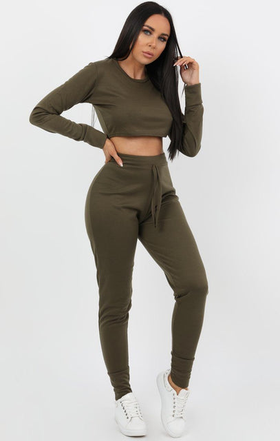 Khaki Cropped Top Loungewear - Luisa