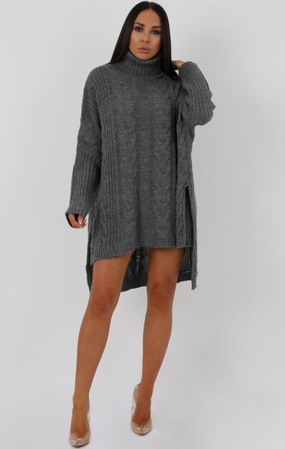 Grey Chunky Cable Knit Split Side Jumper Dress - Kacey