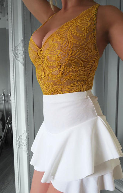Mustard Floral Sheer Lace Bodysuit