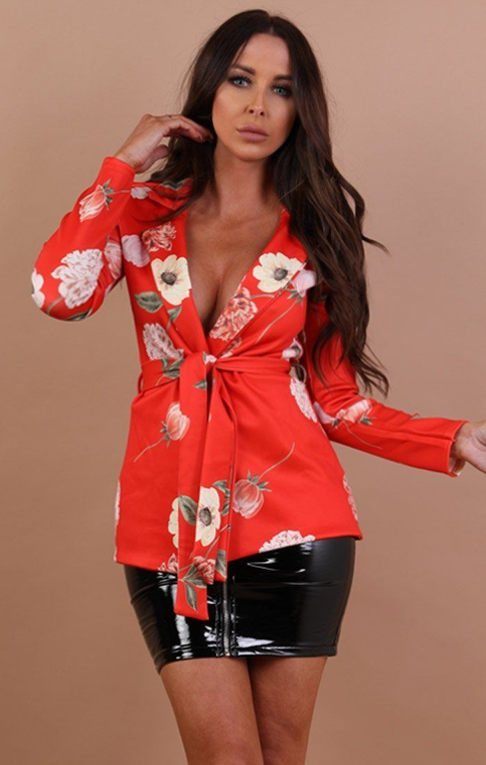 Orange Floral Belted Blazer - Brandy