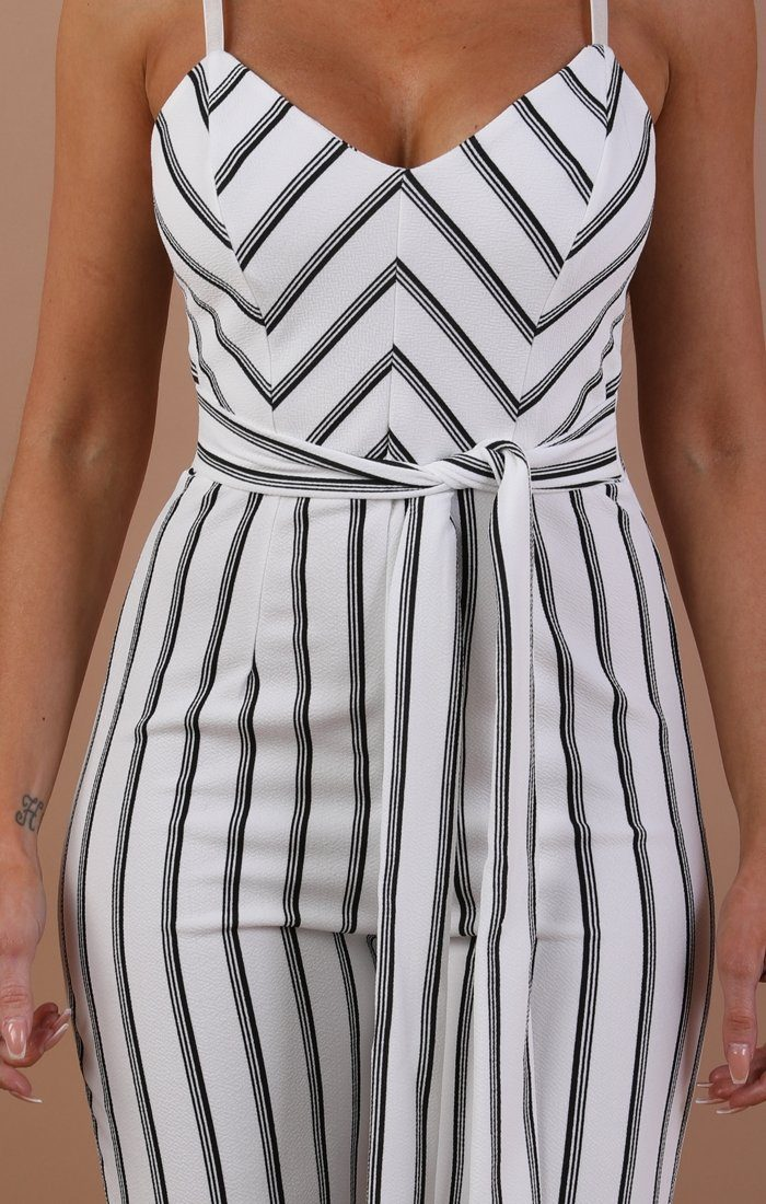 White Striped Tie Waist Jumpsuit - Opal