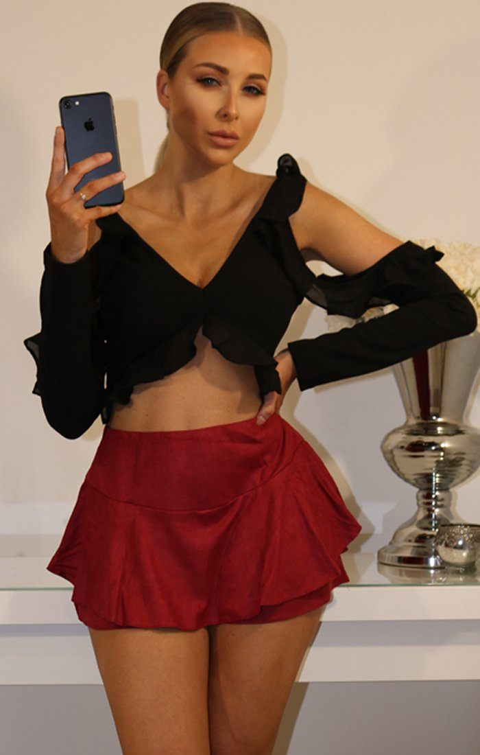 Red Suede Layered Frill Mini High Waist Skirt Shorts