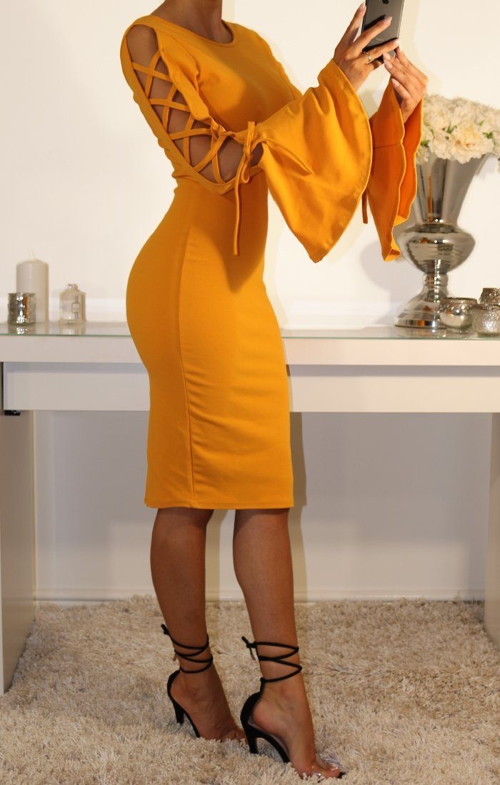 Mustard Bell Sleeve Tie Arm Midi Dress