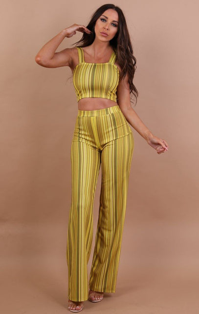 Yellow Striped Crop Top And Trousers Co-ord Set - Faith