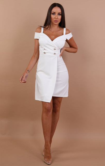 White Cold Shoulder Blazer Dress - Nikki