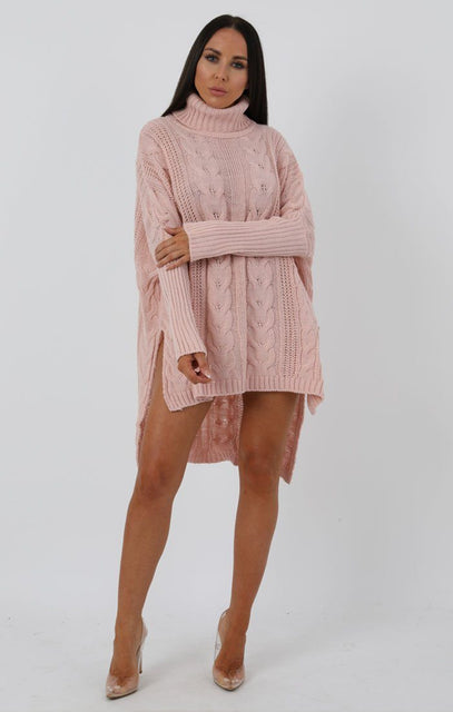 Rose Chunky Cable Knit Split Side Jumper Dress - Kacey