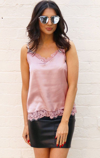 Nude Lace Detail Satin Vest Top - Rhona